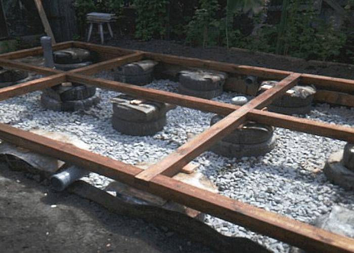 Фундамент из покрышек для гаража своими руками 80