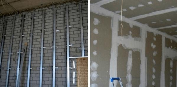 Технология выравнивания стен гипсокартоном по каркасной конструкции – лает немало преимуществ, но «съедает» значительное пространство помещения